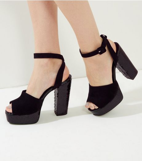 Wide Fit Black Suedette Sequin Platfrom Heels | New Look