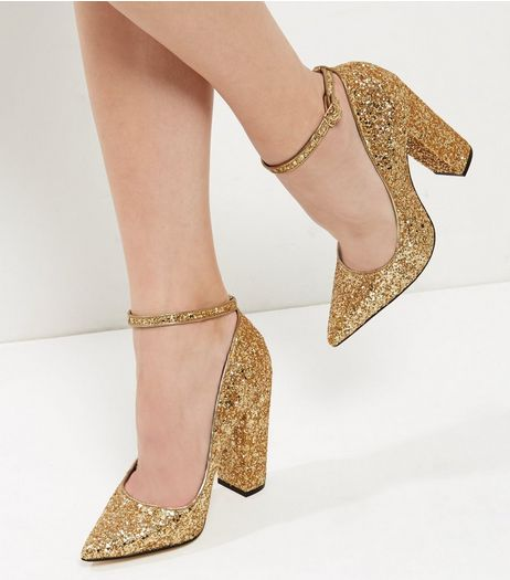 Gold Glitter Strap Top Heels | New Look