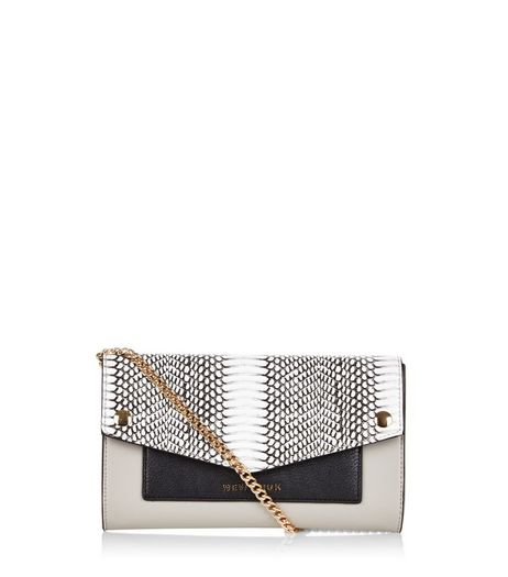 Black Snakeskin Texture Panel Contrast Clutch | New Look