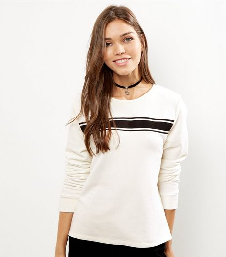 Cream Cotton Contrast Trim Long Sleeve Sweater | New Look