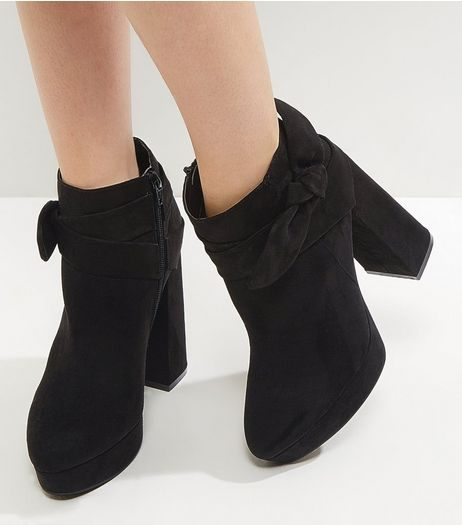 Black Suedette Platform Bow Side Platform Boots | New Look