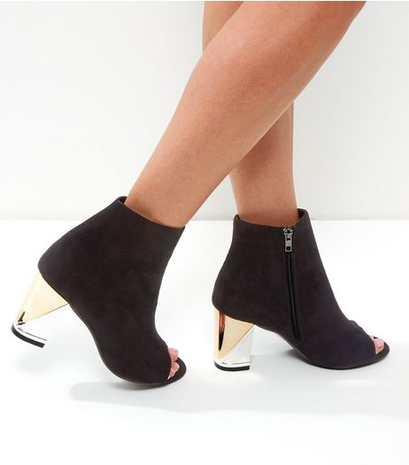 Wide Fit Black Peep Toe Metal Block Heels | New Look