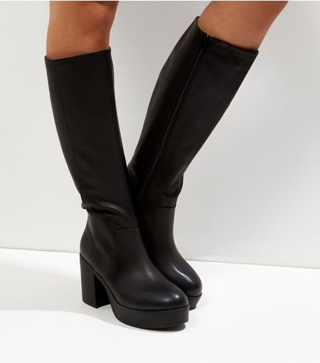 Black Chunky Platform Knee High Boots | New Look