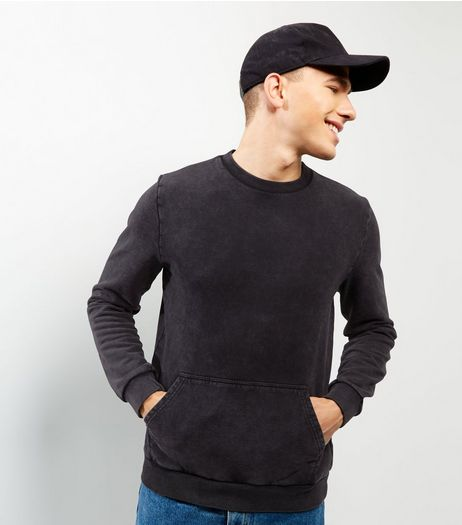 Dark Grey Acid Wash Pocket Front Sweater | New Look