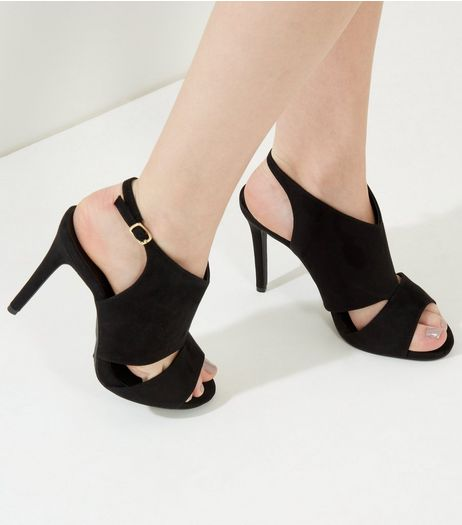 Wide Flat Black Suedette Cut Out Sling Back Heels | New Look