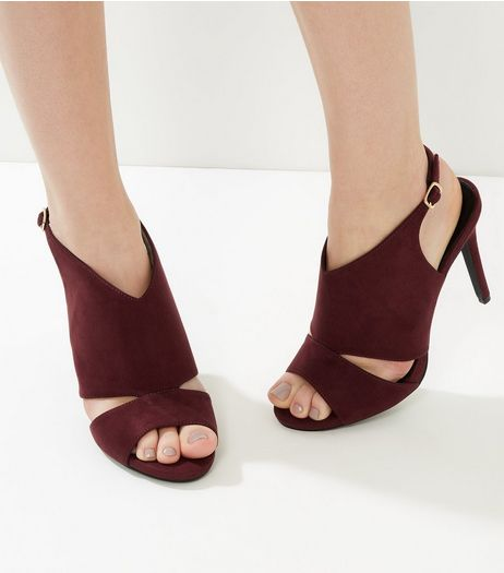 Wide Fit Burgundy Suedette Cut Out Sling Back Heels | New Look