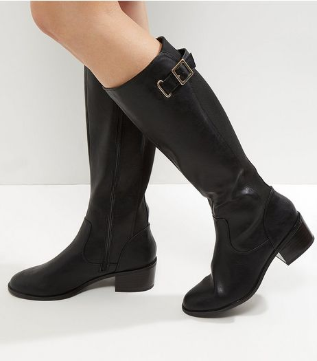 Black Comfort Leather-Look Knee High Buckle Boots | New Look