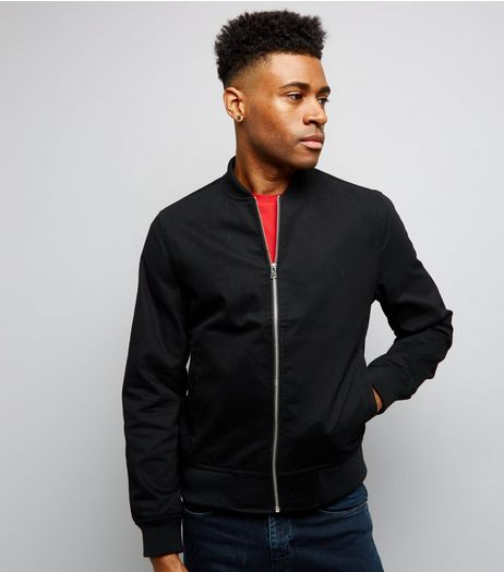 Black Cotton Bomber Jacket | New Look