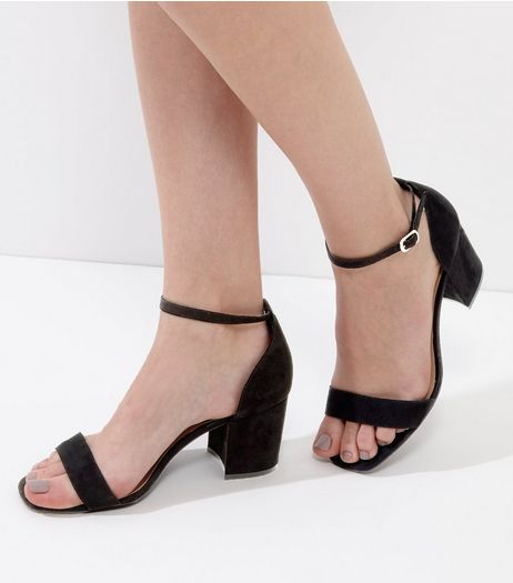Wide Fit Black Suedette Ankle Strap Heels | New Look