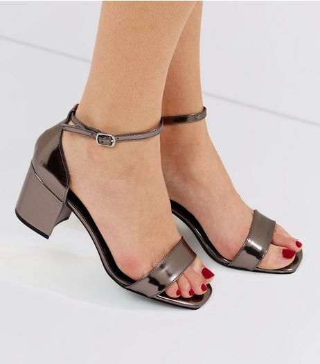 Wide Fit Pewter Metallic Ankle Strap Heels | New Look