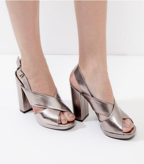 Pewter Metallic Cross Strap Front Platform Heels | New Look