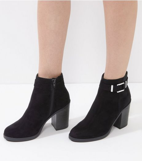 Black Suedette Buckle Strap Block Heel Ankle Boots | New Look