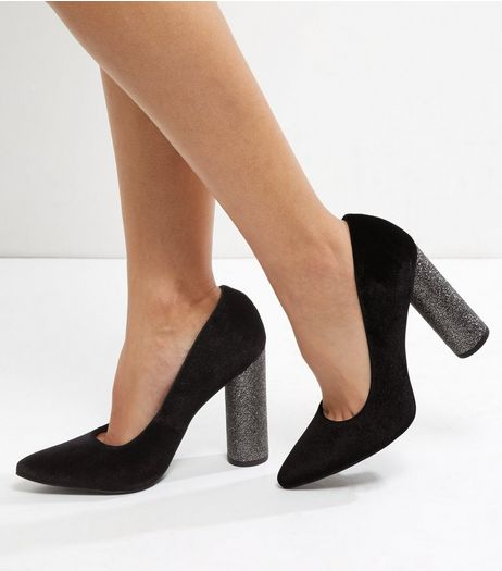 Wide Fit Black Velvet Glitter Block Pointed Toe Heels | New Look
