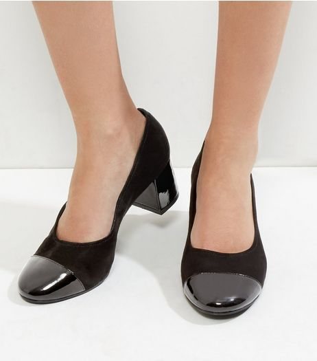 Wide Fit Black Suedette Contrast Toe Court Shoes | New Look