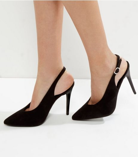 Black Suedette V Throat Toe Pointed Sling Back Heels | New Look
