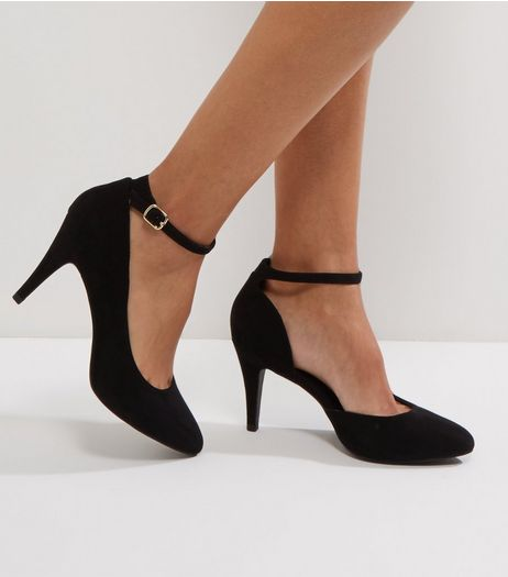 Wide Fit Black Suedette Pointed Toe Heels | New Look