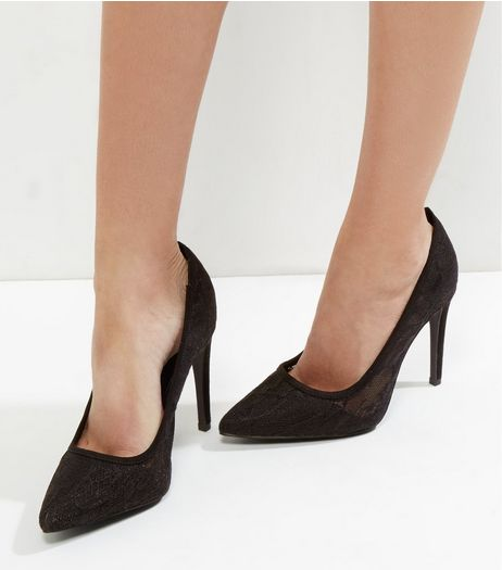 Black Lace Pointed Court Shoes | New Look