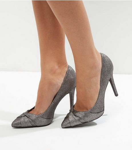 Wide Fit Pewter Metallic Twist Front Pointed Court Shoes | New Look