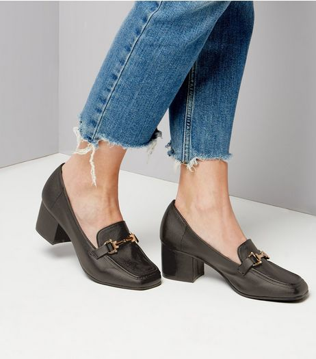 Black Metal Trim Heeled Loafers | New Look