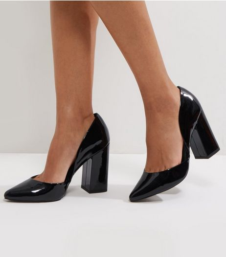 Wide Fit Black Patent Cut Out Heels | New Look