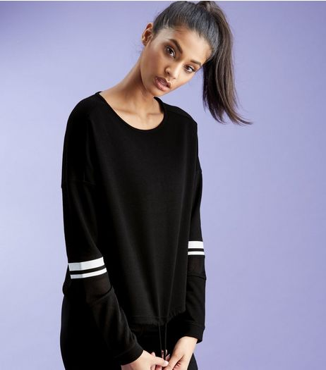 Black Stripe Sleeve Drawstring Hem Sports Sweater  | New Look