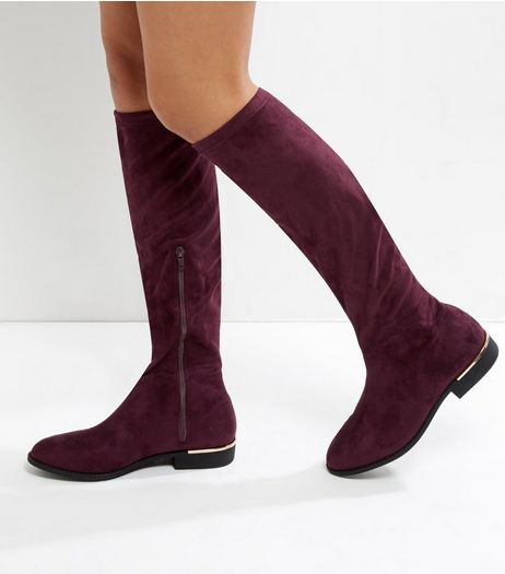 Wide Fit Dark Red Suedette Metal Trim Knee High Boots | New Look