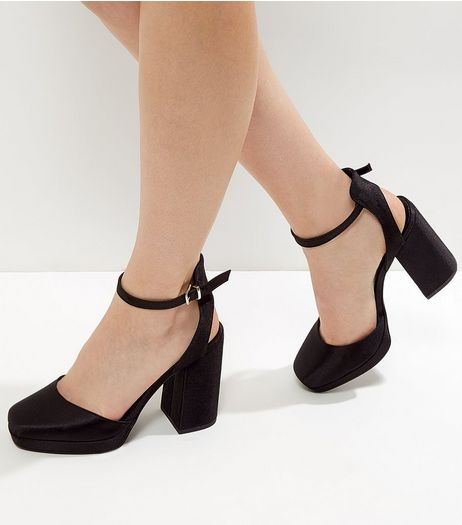 Wide Fit Black Sateen Platform Heels | New Look
