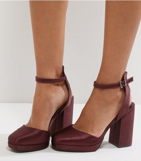 Wide Fit Dark Purple Sateen Platform Heels | New Look
