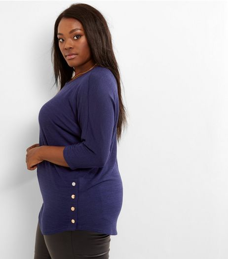 Curves Navy Fine Knit Popper Hem Top | New Look