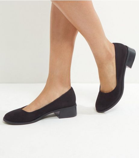 Wide Fit Black Suedette Mini Flared Block Heels | New Look