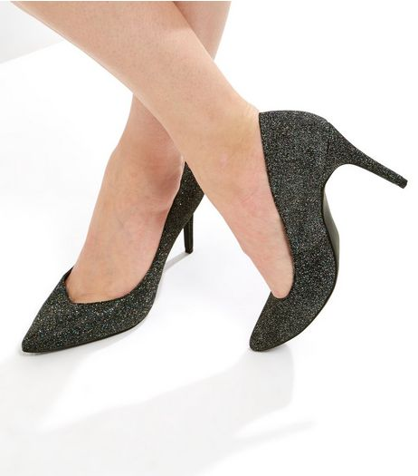 Black Glitter Pointed Court Shoes | New Look