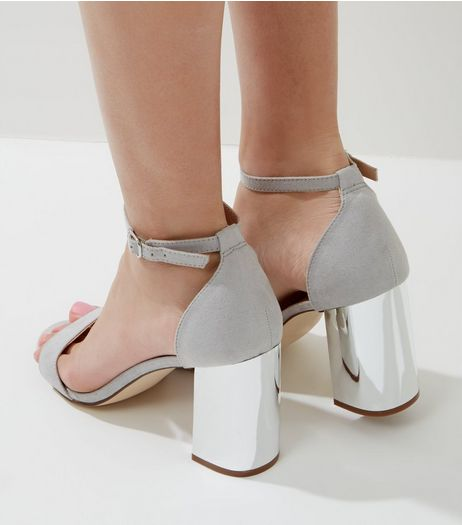 Grey Suedette Metallic Block Heels | New Look