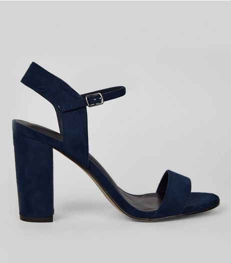 Navy Suedette Block Heel Ankle Strap Sandals | New Look