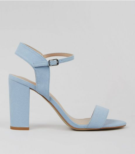 Blue Suedette Block Heel Ankle Strap Sandals | New Look