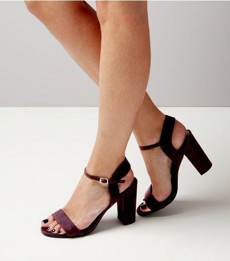 Purple Suedette Block Heel Ankle Strap Sandals | New Look