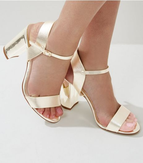 Gold Ankle Strap Heeled Sandals | New Look