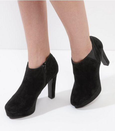 Black Suedette Platform Boots | New Look