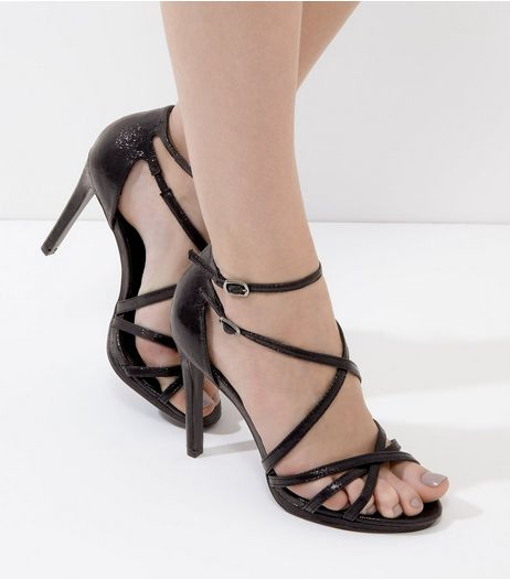 Black Multi-Strap Heels  | New Look