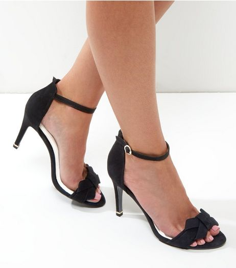 Black Comfort Suedette Bow Front Heels | New Look