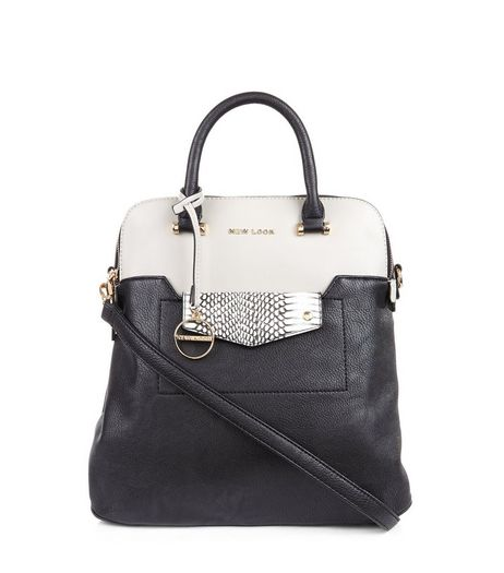 Black Snakeskin Panel Contrast Backpack | New Look