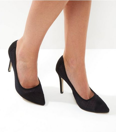 Black Suedette Polka Dot Mesh Pointed Heels | New Look