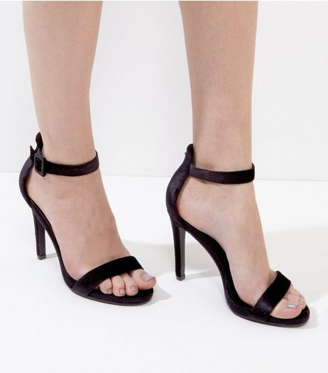 Black Velvet Ankle Strap Heels  | New Look