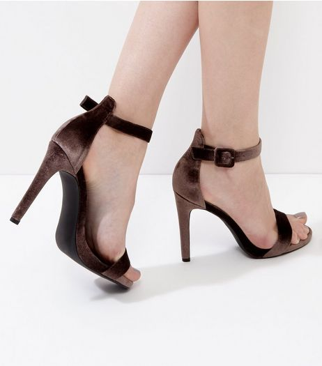 Light Brown Velvet Ankle Strap Heels  | New Look