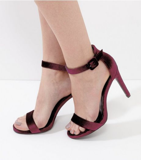 Burgundy  Velvet Ankle Strap Heels | New Look