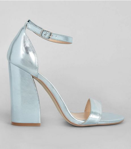 Blue Metallic Flared Block Heels | New Look