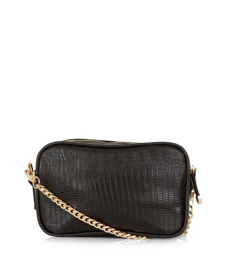 Black Snakeskin Texture Camera Bag | New Look