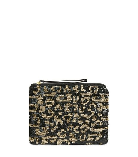Black Leopard Print Embellished Clutch | New Look