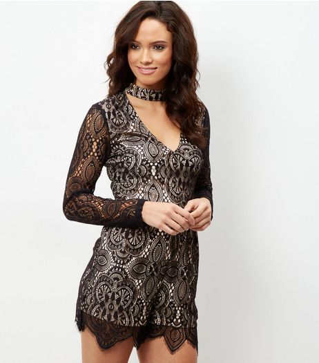 Black Lace Choker Neck Playsuit  | New Look
