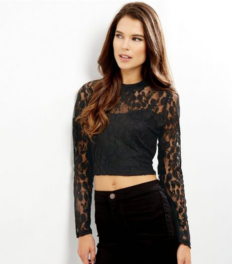 Black Lace Funnel Neck Crop Top | New Look