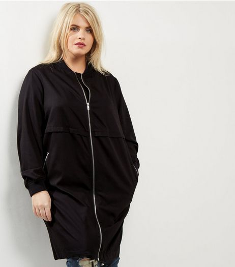 Curves Black Longline Drawstring Hem Bomber Jacket | New Look